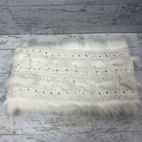 American Eagle Fur Scarf Muffler Ivory Cream Sweater Knit Pull over One SIze