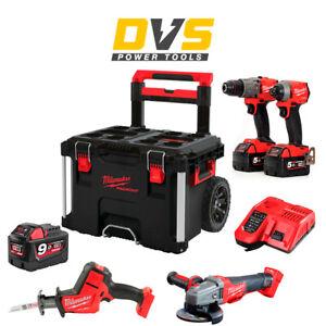 Milwaukee M18 18V 4 Piece Fuel Cordless Kit  2x 5.0Ah 1x 9Ah Batteries & Charger