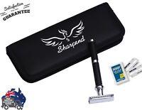 Sharpend Safety Razor &10 Derby Double Edge Blades Classic Shaving Vintage Men