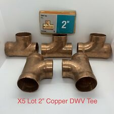 "X5 Lot 2"" CDWV Copper Sweat Tee Sanitary Pattern Fitting For Copper Pipe Drain"