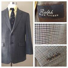 RALPH LAUREN Mens 40S Houndstooth 2-Button Classic Jacket Wool Green Gray Brown