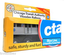 "Munipals MP03-11BL Wooden Subway ""L"" Train Chicago CTA Blue Line O""Hare Forest P"