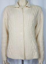 Paul James ivory white cable knit wool fishermans cardigan sweater ladies Medium