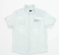 New Look Mens Size L Cotton Blue Casual Shirt