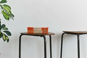 Vintage Pair of Plywood Stackable Stools in the style of Fritz Hansen