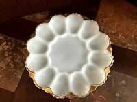 """Vintage Anchor Hocking White Milk Glass Gold Leaf Egg Platter Serving Dish 10"""""""