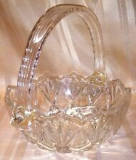 Vintage Pineapple Design Cut Glass Basket w Acrylic Handle Candy Dish Bowl