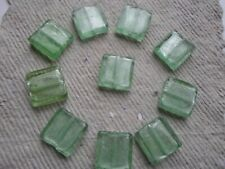 Silver Foil Lined Glass Square Beads ~ 10 x Green