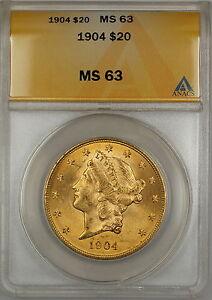 1904 $20 Liberty Double Eagle Gold Coin ANACS MS-63 SB (A)