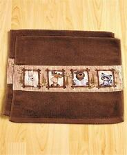 SET OF 2 BATHROOM GUEST HAND TOWELS NATURE CALLS OUTHOUSE BEAR RUSTIC CABIN