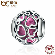 Bamoer S925 Sterling Silver Thread Charm With in Love Heart Jewelry For Women