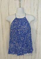 Lilly Pulitzer Women's XXS Blue White Floral Silk Sleeveless Tank Top