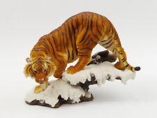 Tiger auf Platte Katze Tigerfigur Skulptur Deko Tier Figur Statue Löwe Wildkatze