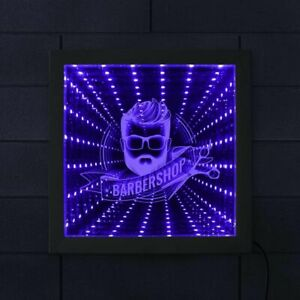 LED Infinity Mirror Barber Shop Business Logo Wall Sign Infinity Mirror Frame