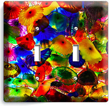 COLORFUL MURANO GLASS DOUBLE LIGHT SWITCH WALL PLATE COVER LIVING DINING ROOM