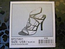 Baby Phat KIM Black Silver Leopard Strappy High Heel Sandals - Size 8 New w/ Box