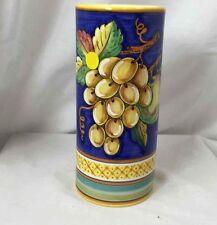 Handmade Vase Cobalt Grapes by Gialletti Pimpinelli DERUTA MAJOLICA Italy