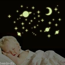 BD Glow In The Dark Luminous Space Planets Plastic Wall Stickers Decals Bedroom
