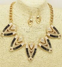Gold Black and Clear Statement Necklace