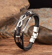 G118 Black Cool Metal Infinity Surfer Leather Mens Wristband Bracelet Cuff New