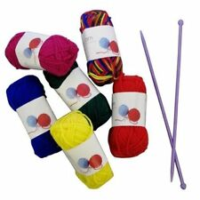 6 Pack Knitting Set Plastic Needle Coloured Wool Balls Sewing Solutions Craft UK