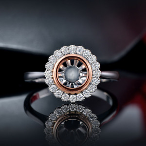 Round 7.0MM Natural Diamond Bezel Semi Mount Halo Engagement Ring Solid 14K Gold
