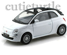 """4.25"""" Welly 2010 Fiat 500C Convertible 1:32 Diecast Toy Car White"""