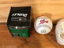"Dudley Softball Cork Center Leather Sb-12 Lrf cor.44 Asa 12"" Nos Red stitch"