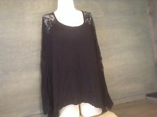COTTON ON WOMENS BLOUSE BLACK LONG LACE SLEEVES HIGH LOW VISCOSE SIZE MEDIUM