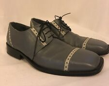EMILIO FRANCO Made In Italy Men's Grey Leather Oxford Shoes Size 8.5