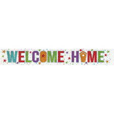 Welcome Home Banner Party Decoration Bunting Shiny Holographic 2.7 metres