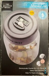 Digital Coin Counting Money Jar The Sharper Image Electronic Piggy Savings Bank