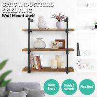 3 Tier Wall Industrial Shelf Pipe Shelving Iron Storage Bracket Bookshelf New US