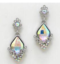 "1.75"" Long Silver Clear Aurora Borealis AB Austrian Crystal Pageant Earrings"