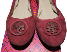 Tory Burch Allie Ballerina Flats Burgundy Logo Minnie Reva Suede Ballet Shoe 10