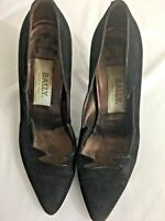 Bally Women's Black Suede 7.5M Avant Gardé Pumps Cut Out Vintage, Made In Italy