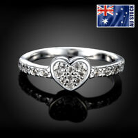 Classic Women's Sterling Silver Filled Love Heart Wedding Engagement Band Ring