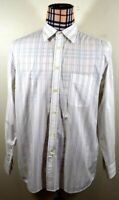Façonnable Mens France White Brown Striped Long Sleeve Shirt Large