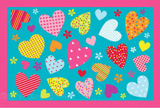 3x5  Area Rug Turquoise  Hearts & Flowers Peace Girly Heart Kids Room Carpet New