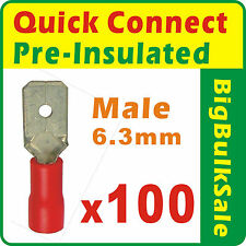100 x Red Quick Connect Male Pre-Insulated Terminals Wiring Connector 0.5-1.5mm
