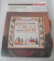 Vintage BERNAT Peace on Earth Cross Stitch Kit Holiday Ideas 1981 18x18 WO0100