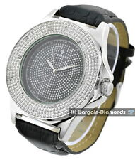 mens diamond silver clubbing 53 mm watch black bling dial leather ice maxx