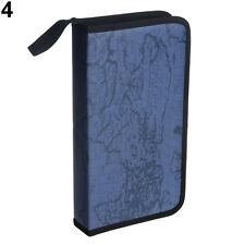 Blue Map Pattern CD VCD DVD 80 Discs Storage Holder Case PVC Bag Organizer Handy