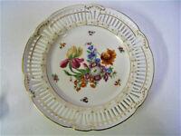 Vintage SGK Occupied Japan KONGO Pierce Rim White Decorative Plate Iris Floral