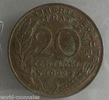 20 centimes marianne 1992 : B : pièce de monnaie française