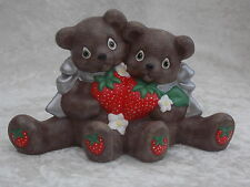 Brand New Ceramic Handmade Brown Bear Couple Animal Figurine Ornament Decoration