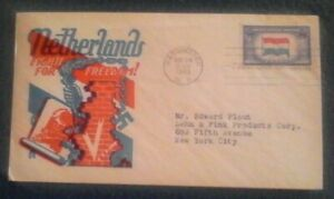 First day of issue, 1943 Oppressed Nations Series, Netherlands, Scott # 913