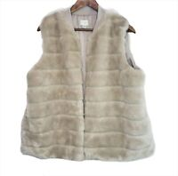 New Women's Faux Fur Vest A New Day Cream Lined Plus Size XXL 2X Sleeveless