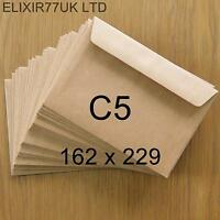 C5 A5 100gsm BROWN KRAFT ENVELOPES RECYCLED FOR CARDS PAPER WEDDING CRAFT MAKING