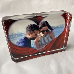Picture with Big Heart Frame Personalised Printed Large Crystal Block Valentines